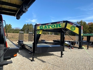 Low Profile Gooseneck Trailer For Sale  Low profile gatormade gooseneck  trailer features a 16,000 pound GVWR, dexter 8,000 pound axles, 17.5in commercial tires, a mounted spare tire --and much more!
