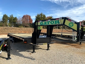 Gatormade Gooseneck Trailer For Sale  20 and 5 Husky Gooseneck Trailer features durable powder coat finish, 14in extreme duty main frame, dexter 10,000 pound axles, and fold flat ramps.