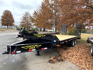 Equipment Trailer On Sale  Gatormade Trailer For Sale! This equipment trailer features 12in I-Beam frame, powder coat finish, dexter 7,000 pound axles, and easy to load stand.